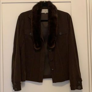 St. John Suede Jacket with Real Fur